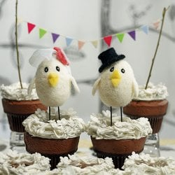 Bird Bride and Groom Cake Toppers