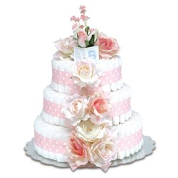 Three-Tier Pink Roses with Polka Dots Diaper Cake