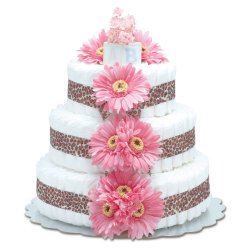 Three-Tier Hot Pink Daisies with Leopard Diaper Cake