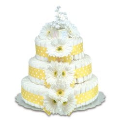Three-Tier Yellow Gerbera Daisies with Polka Dots Diaper Cake