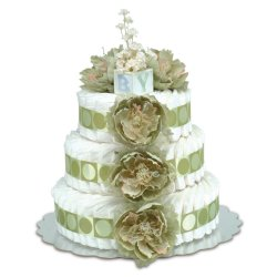 Three-Tier Sage Green Peonies with Sage Circles Diaper Cake