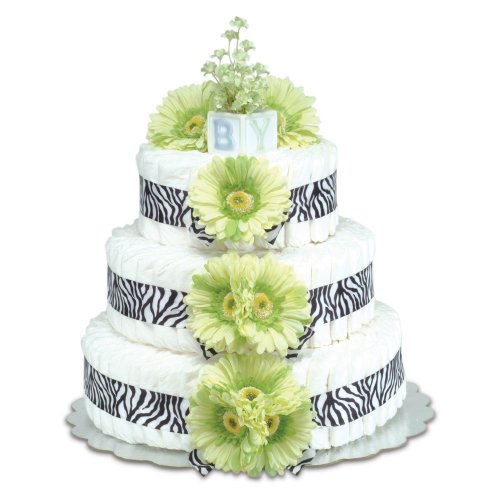 Three-Tier Green Daisies with Zebra Diaper Cake