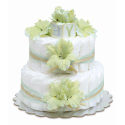 Two-Tier Mint Green Gladiolas with Natural Raffia Diaper Cake