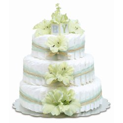Three-Tier Mint Green Gladiolas with Natural Raffia Diaper Cake