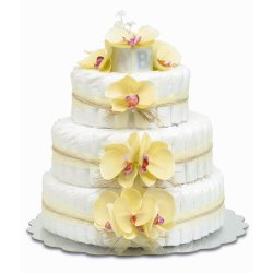 Three-Tier Yellow Orchids with Natural Raffia Diaper Cake