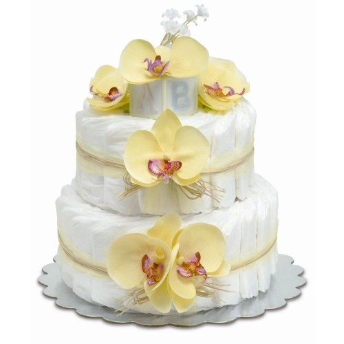 Two-Tier Yellow Orchid with Raffia Diaper Cake