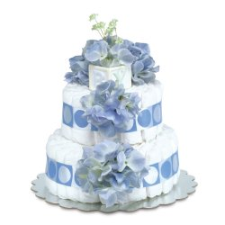 Two-Tier Blue Hydrangeas with Blue Circles Diaper Cake