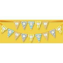 Classic Carnival Birthday Yellow and Blue Banner
