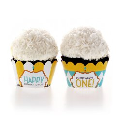 Classic Carnival Birthday Yellow and Blue Cupcake Wrappers