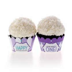 Classic Carnival Birthday Purple Cupcake Wrappers