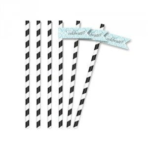 Brocade Bridal Shower Blue Straw Flags