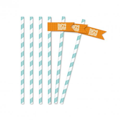 Bold Baby Bliss Blue Straw Flags