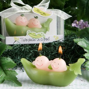 """Two Peas in a Pod"" Baby Candle Favor"