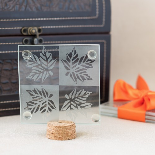 Autumn Leaf Glass Coasters Favor