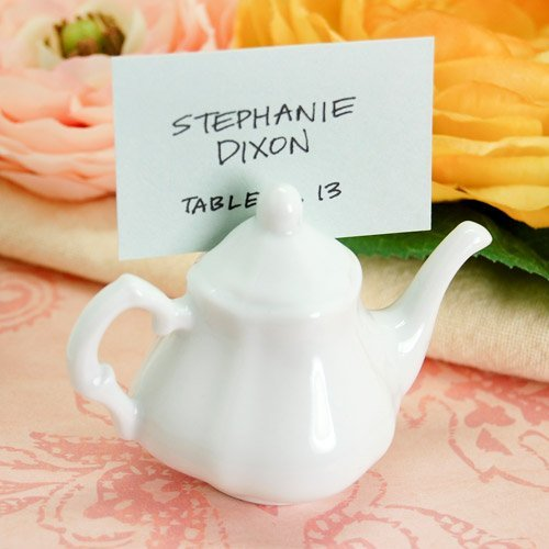 Victorian Porcelain Teapot Place Card Holder