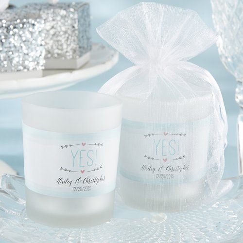 Personalized Frosted Engagement Votive Candle Favors
