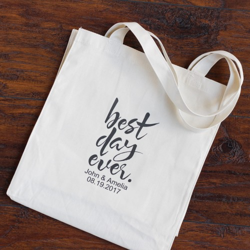 Personalized Best Day Ever Cotton Tote Bag