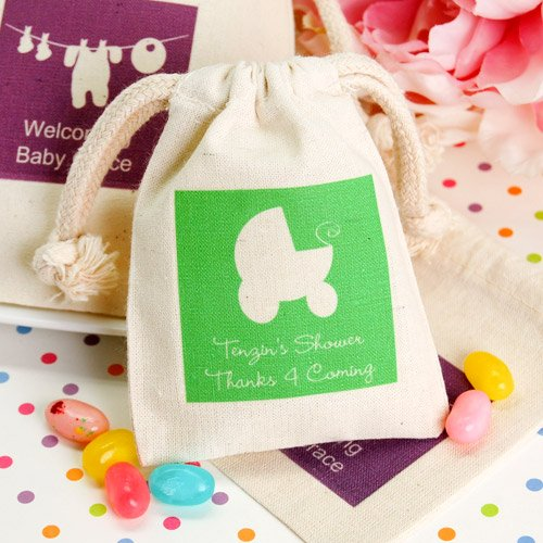 Personalized Baby Silhouette Natural Cotton Favor Bags