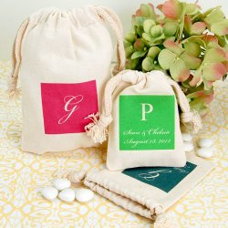 Personalized Monogram Silhouette Natural Cotton Favor Bag