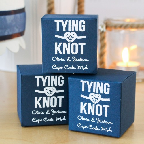 Personalized Tying the Knot Favor Boxes