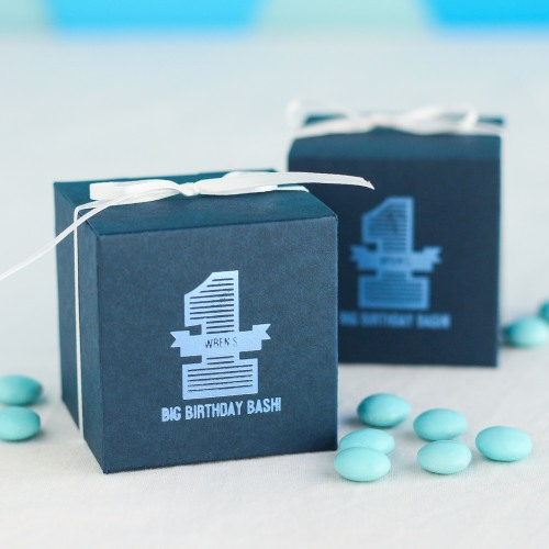 Personalized First Birthday Blue Favor Box