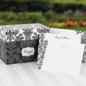 Damask Recipe Box Bridal Shower Invitation Set