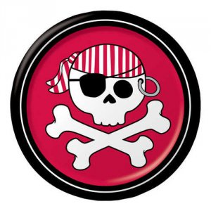 "Pirate Parrty Red 6.75"" Luncheon Plates"