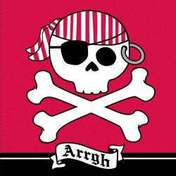 Pirate Parrty Red Luncheon Napkins