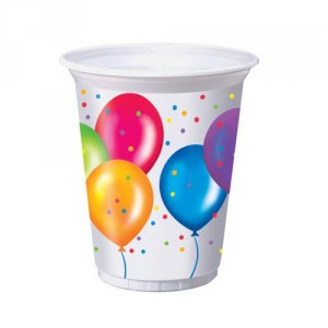 Birthday Balloons 16 oz. Printed Plastic Cups