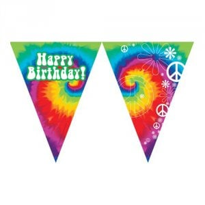 "Tie Dye Fun ""Happy Birthday"" Banner"