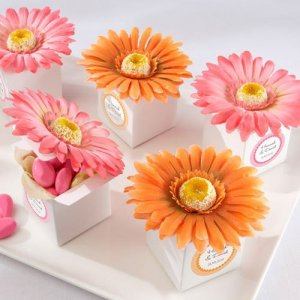 Gerber Daisy Favor Boxes with Personalized Labels
