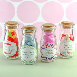 Personalized Birthday Vintage Milk Favor Jars