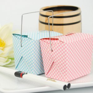 Gingham Blue and Pink Chinese Takeout Boxes