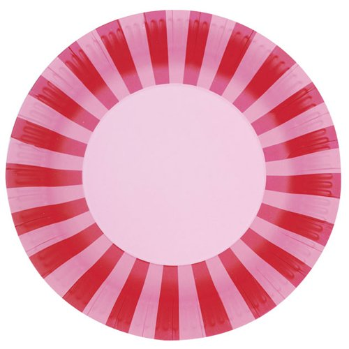 Pink Floss Bold Stripes Paper Plate