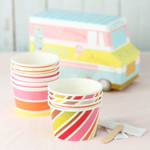 Ice Cream Cups and Spoons Set