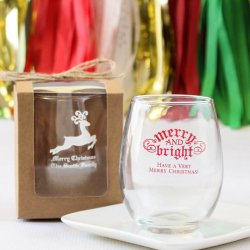 Personalized Holiday Stemless Wine Glass