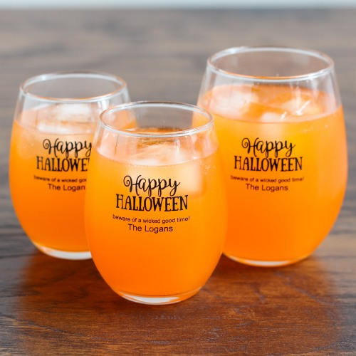 Personalized Halloween Stemless Wine Glasses