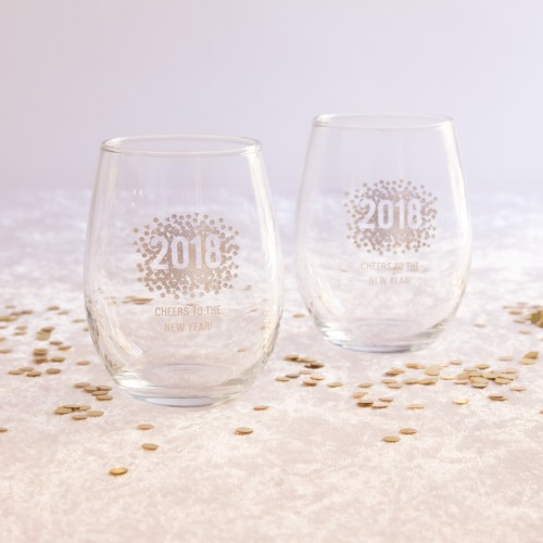 Personalized New Years Stemless Wine Glasses