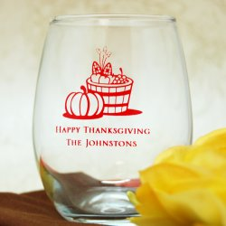 Personalized 9 oz. Holiday Stemless Wine Glass