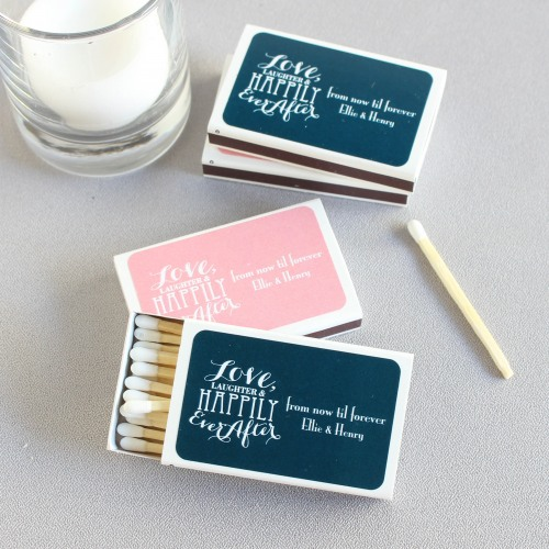 Personalized Love Laughter Wedding Matchboxes