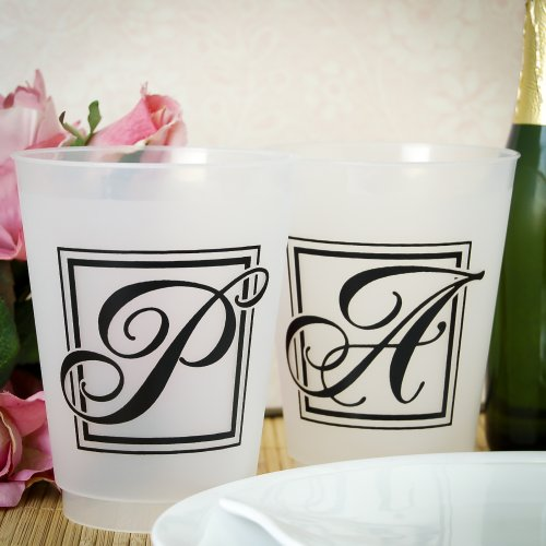 Elegant Monogram 16 oz. Frosted Plastic Cups