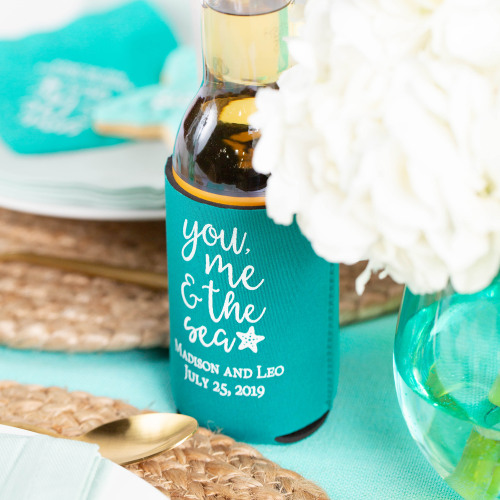 Personalized You Me & the Sea Neoprene Wedding Can Sleeve
