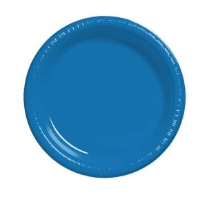 "True Blue 10.25"" Round Plastic Banquet Plates"