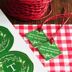 Personalized Diamond Holiday Favor Gift Tags