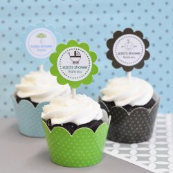 Personalized Baby Shower Cupcake Wrappers and Toppers