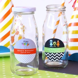 Personalized Birthday Milk Jars and Straws