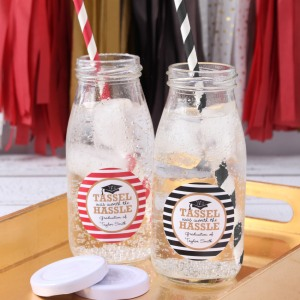 Personalized Graduation Milk Jars and Straws