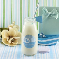 Personalized Baptism Milk Jars and Straws