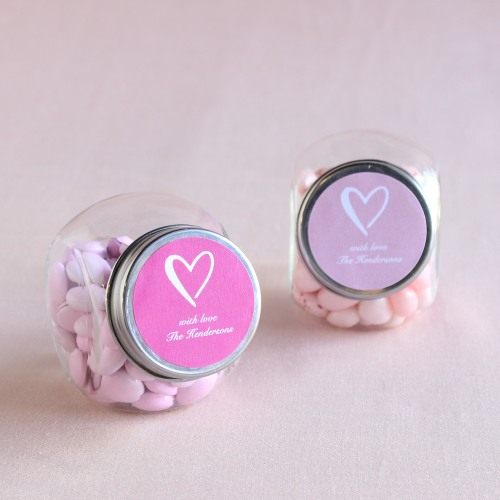 Personalized Heart Themed Candy Jars