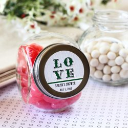 Personalized Mini Glass Bridal Shower Candy Jar